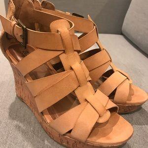 A.N.A (A New Approach) tan cork wedge sandal